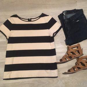 Loft navy & taupe shirt w/ back zip. Size M